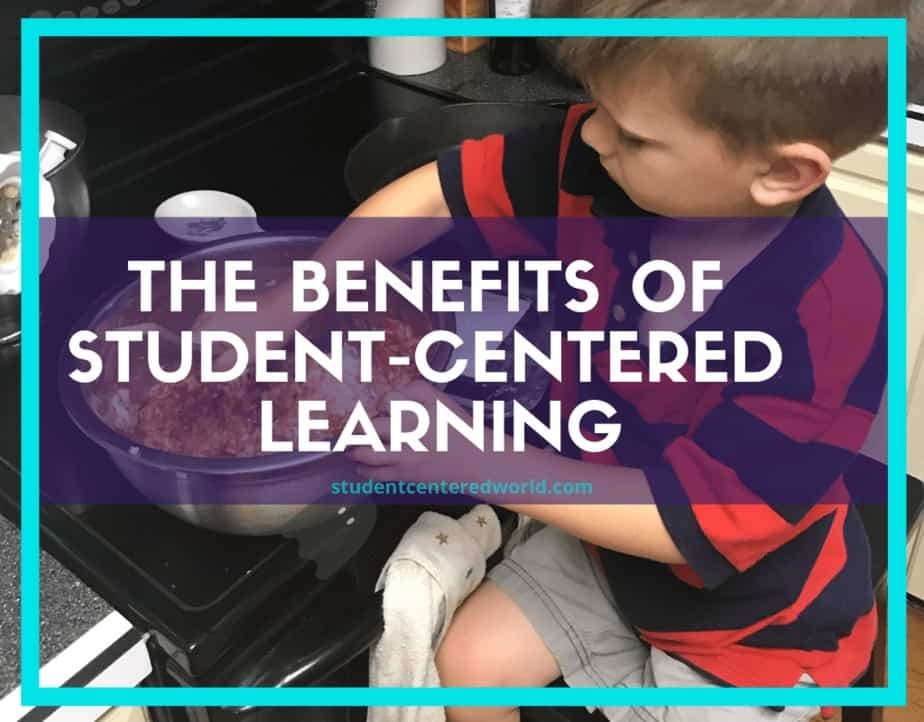 "boy mixing food in a bowl independently with title ""The Benefits of Student-Centered Learning"""