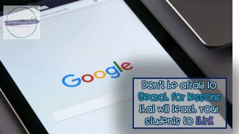 """search engine screen with caption, """"Don't be afraid to Search for lessons that will teach your students to think"""""""