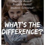 "two children hugging with caption ""inquiry based, project based, student centered: what's the difference?"""