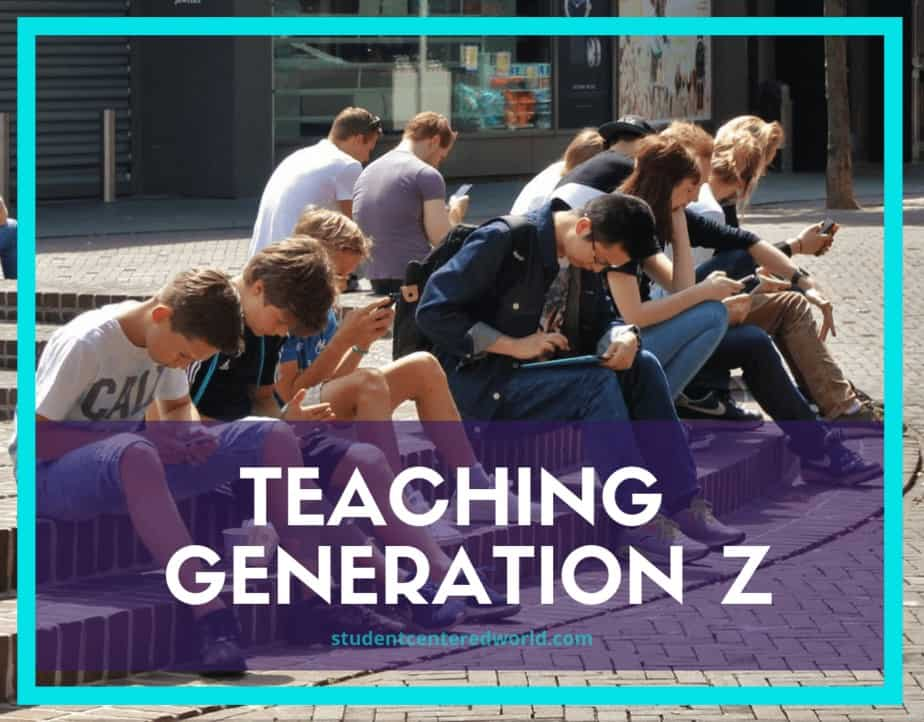 Generation Z students sitting on a curb looking at their smart devices