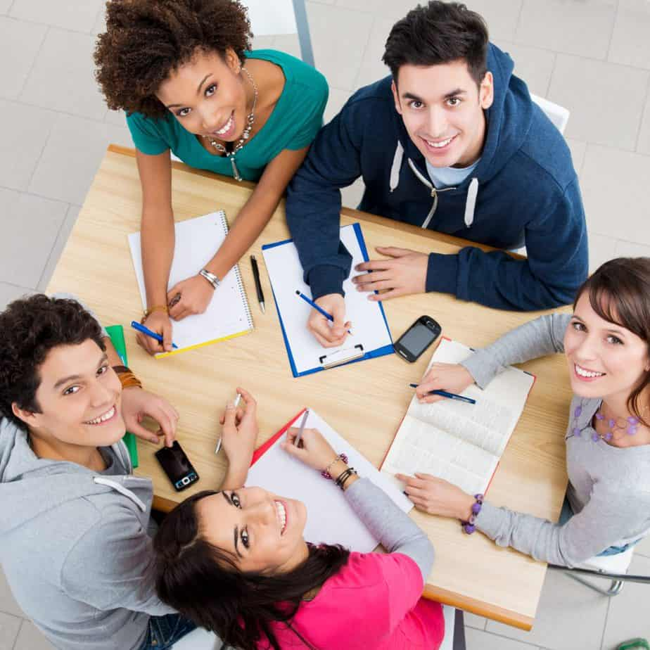 Group of Young Students Studying together, High View