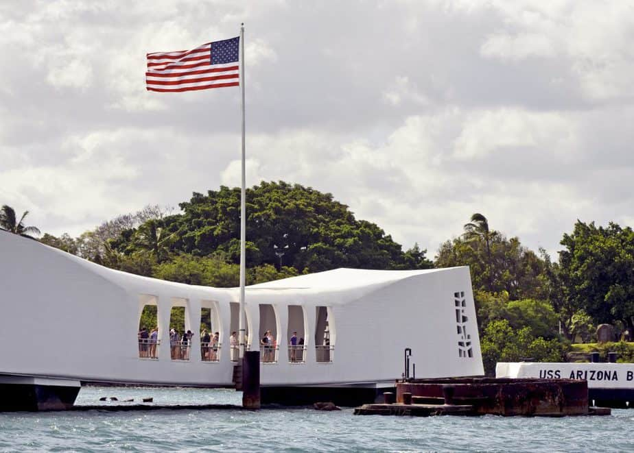 the pearl harbor memorial on the island of Oahu, Hawaii.